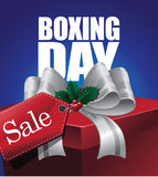 Boxing day sale design with tag and ribbon Royalty Free Stock Photo