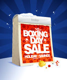 Boxing day sale design with tear-off calendar, winter holiday savings. Poster Royalty Free Stock Photo