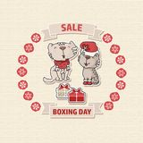 Boxing day. Sale offer card with a cat, box. Royalty Free Stock Images