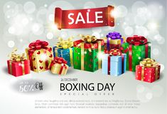 Christmas gift boxes silver bokeh lights wallpaper. Boxing Day Sale poster. Gift Boxes for Christmas and New Year Winter Holiday, celebrate, beautiful gift box Royalty Free Stock Images