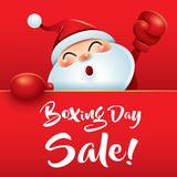 Boxing Day Sale! Santa Claus with red boxing glove. Stock Photos