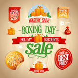Boxing day sale signs, designs, banners, stickers and coupons. Boxing day sale signs, designs, banners, stickers and coupons set, vintage style Stock Images
