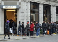 Boxing day sales on Bond Street, London stock image