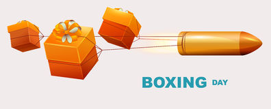 Boxing day text. Box gifts tied to bullet fly Stock Photography