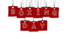 Boxing Day. Text with red labels isolated on white background stock illustration