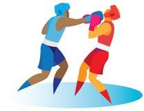 boxing de bokser stuurt zijn tegenstander in neerhalen royalty-vrije illustratie