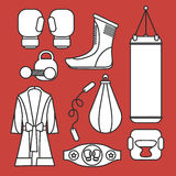 Boxing  design elements. Fighting and boxing equipment. Bo. Xing gloves  illustration. Boxing gym icons. punching bag Royalty Free Stock Photo