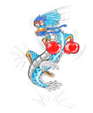 Boxing dragon cartoon pecil color Royalty Free Stock Images