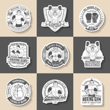 Boxing emblem. Set of 9 pieces. Boxing stickers, labels in old-school style. Vintage sports stickers Royalty Free Stock Image