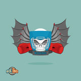 Boxing emblem, Skull in a boxing helmet with gloves, with wings Stock Photo