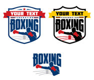 Boxing emblems, logos and designed elements. Set of boxing emblems, labels, badges, logos and designed elements.  on white Royalty Free Stock Photos