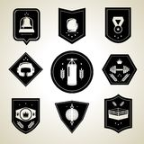 Boxing emblems set black Royalty Free Stock Photos