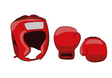 Boxing equipment helmet and gloves Royalty Free Stock Images