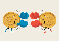 Boxing Euro vs Dollar. Vector illustration about exchange rate, confrontation euro and dollar, the economy and financial markets in Europe, the U.S. and around Stock Photos