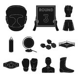 Boxing extreme sports black icons in set collection for design. Boxer and attributes vector symbol stock web. Boxing extreme sports black icons in set collection Stock Photography
