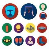 Boxing extreme sports flat icons in set collection for design. Boxer and attributes vector symbol stock web illustration. Boxing extreme sports flat icons in set Royalty Free Stock Photography