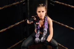 Boxing fashion girl on break sits on a chair resting in a boxing competition ring. Sexy amazing female model. Beautiful braiding kanekalon pigtails hairstyle Stock Image