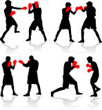 Boxing fight. Sports profiles boxers Stock Photos