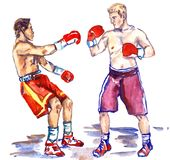 Boxing fight, athlete sends in a knockout his opponent, hand pai. Two boxers, knockout moment in fight, hand painted watercolor sport illustration Stock Image