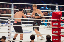 Boxing fight in Palats of Sports in Kyiv, Ukraine Stock Photography