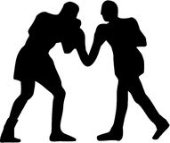 Boxing Fight Silhouette. Two boxer fighting boxing fight Royalty Free Stock Photography