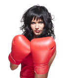 Boxing fighter woman in defence Royalty Free Stock Image