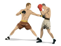 Boxing fighters figures vector illustration