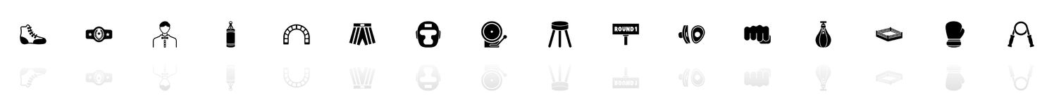 Boxing and Fighting - Flat Vector Icons. Boxing and Fighting icons - Black horizontal Illustration symbol on White Background with a mirror Shadow reflection Stock Images