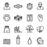 Boxing and fighting Icons set. Thin Line Style stock vector. royalty free stock photo