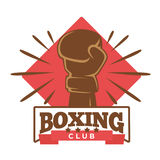 Boxing five-star club emblem with hand in glove Royalty Free Stock Photos
