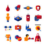 Boxing Flat Icons Collection Royalty Free Stock Photo