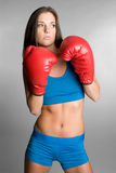 Boxing Girl. Healthy fit aggressive boxing girl Royalty Free Stock Image