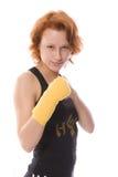 Boxing girl. Boxing red girl in black Stock Image