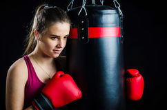 Boxing girl portrait Stock Photo