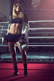 Boxing girl posing in hoodie Stock Photography