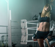 Boxing girl posing in hoodie Royalty Free Stock Photos