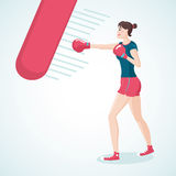 Boxing Girl. Young girl is boxing. Isolated vector illustration. Cartoon style Stock Image