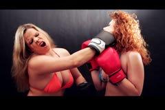 Boxing girls. Two girls by boxing battle in Bikinis stock image