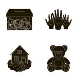 Boxing glass with donations, hands with hearts, house in hands, teddy bear for charity. Charity and donation set Royalty Free Stock Images