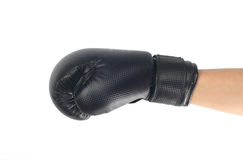 Boxing glove. Hand with black boxing glove Stock Photos