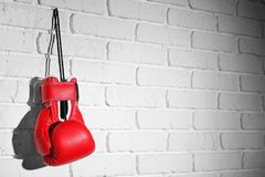 Boxing glove. On brick wall Royalty Free Stock Photo