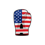Boxing Glove with flag of USA. Sports accessory textured America. N flag for Patriots. Vector patriotic illustration Stock Image