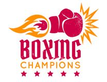Boxing glove with flame. Vector vintage logo for a boxing with gloveand fire. Boxing glove with flame. Vintage sport emblem Stock Photography