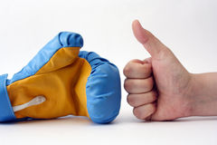 Boxing glove and hand. On white background Royalty Free Stock Photography