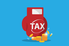 Boxing glove hit on  stack of golden coins, tax and business concept. Vector and illustration Stock Photography