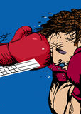 Boxing Glove Hitting Man. Action illustration of bruised boxer hit with glove Royalty Free Stock Photos