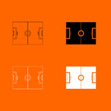 Soccer field black and white color set icon . Royalty Free Stock Images