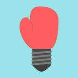 Boxing glove with lightbulb. Light bulb in the shape of a red boxing gloves on blue background. Innovation, power, idea and creative concept. Flat design. Vector Stock Photo