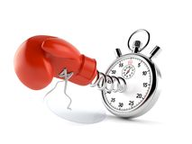 Boxing glove with stopwatch. On white background stock illustration