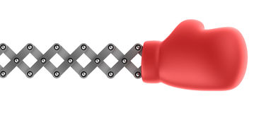Boxing glove surprise. Over white Royalty Free Stock Photography